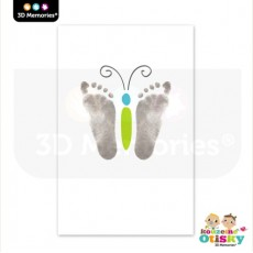 Arch speciálního papíru pro Kouzelné otisky 3D Memories - zelený motýlek