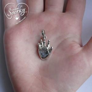 Stříbrný osobní šperk z 3D odlitku ručičky - velký