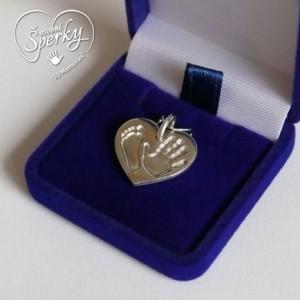 Stříbrný osobní šperk z otisku nožičky a ručičky - srdíčko malé