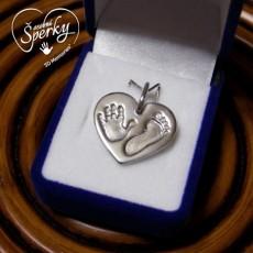 Stříbrný osobní šperk z otisku nožičky a ručičky - srdíčko velké