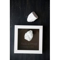 3D odlitek tlapky v hlubokém bílém rámečku