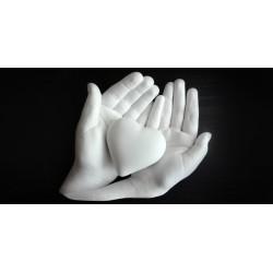 sádrový odlitek rukou držící srdíčko