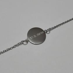 Náramek z chirurgické oceli s vygravírovaným / vyrytým textem