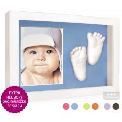 3D Memories odlévací sada baby pro 3D odlitek ručiček a nožiček s extra hlubokým bílým dvojrámečkem a modrou paspartou