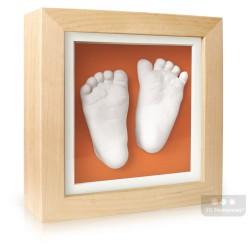 extra hluboký olšový rámeček s oranžovou paspartou a s 3D odlitky nožiček