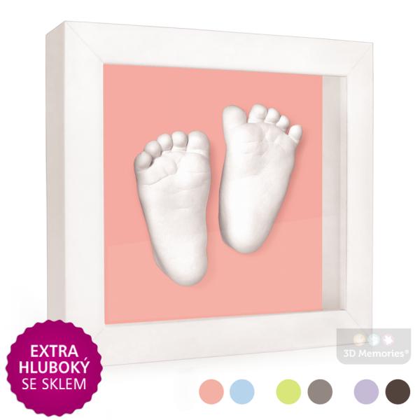 extra hluboký bílý rámeček s růžovou paspartou a s 3D odlitky nožiček