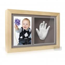 3D Memories odlévací sada baby pro 3D odlitek ručiček a nožiček s extra hlubokým dvojrámečkem se šedými paspartami