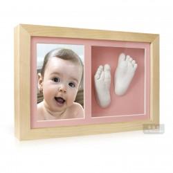 3D Memories odlévací sada baby pro 3D odlitek ručiček a nožiček s extra hlubokým dvojrámečkem s růžovými paspartami