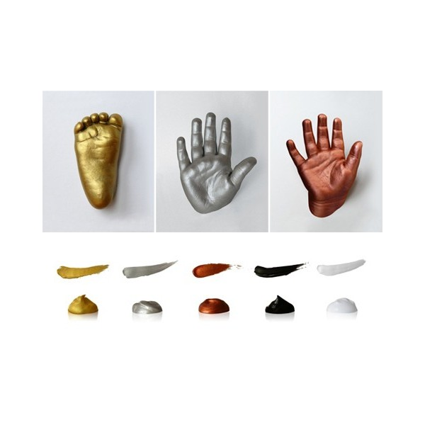 zlatý, stříbrný a měděný nakolorovaný sádrový 3D odlitek
