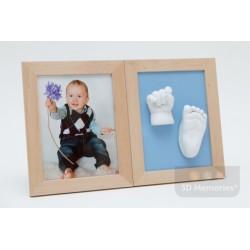 sádrový odlitek ručičky, nožičky a fotografie v olšových rámečcích