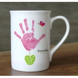 Hrnek s vlastním otiskem ručičky - světle růžová kytička