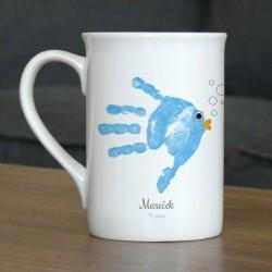 Hrnek s vlastním otiskem ručičky - modrá rybička