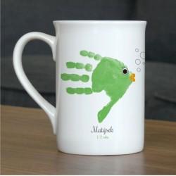 Hrnek s vlastním otiskem ručičky - zelená rybička