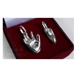 Stříbrné osobní šperky z 3D odlitku ručičky velký a nožičky malý