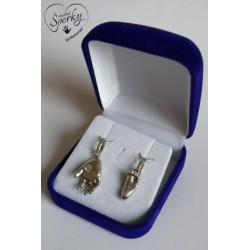 Stříbrné osobní šperky z 3D odlitku nožičky a ručičky v dárkové krabičce