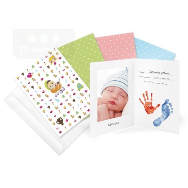 Oznámení o narození miminka - pro otisky ručiček i nožiček a fotografii miminka