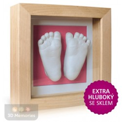 extra hluboký olšový rámeček s růžovou paspartou a s 3D odlitky nožiček