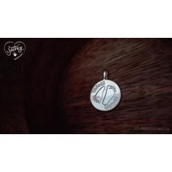 Stříbrný osobní šperk 3D Memories z otisku nožiček - kolečko se dvěma otisky